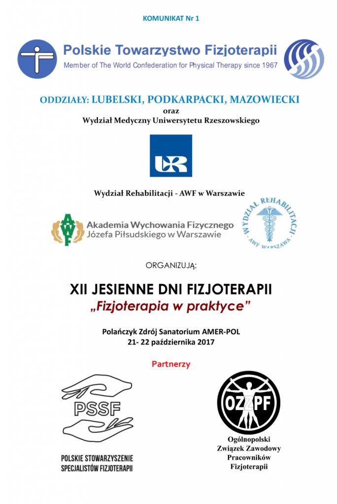 Jesienne Dni Fizjoterapii 2017 I