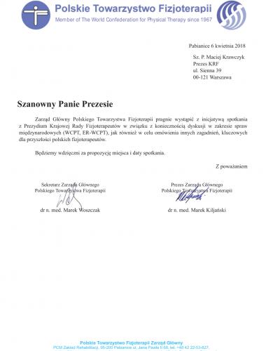 PTF-KRF prośba o spotkanie przedstawicieli