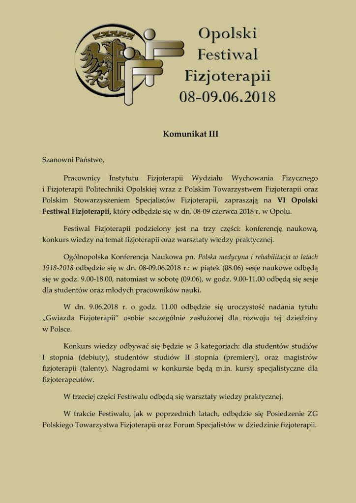 III Komunikat 15.05